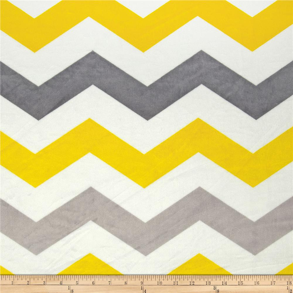Minky Large Chevron Grey Yellow Silver Designer