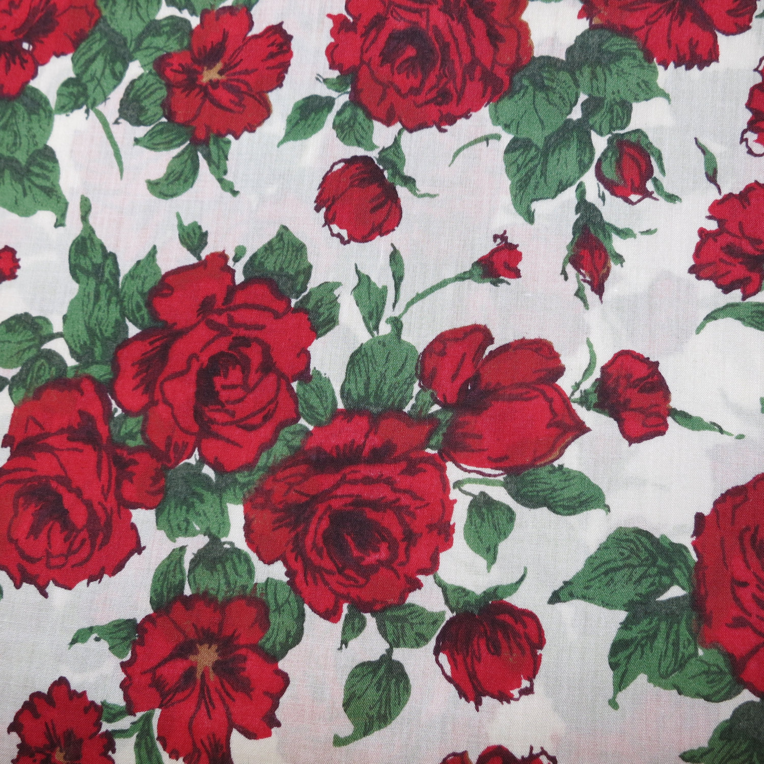 Red Rose Print Fabric