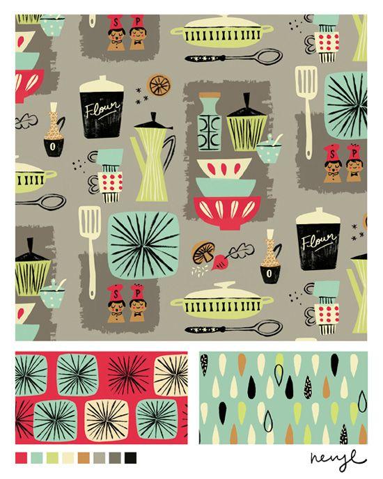 Bolt Fabric Design Kitchenette With Vintage Kitchen