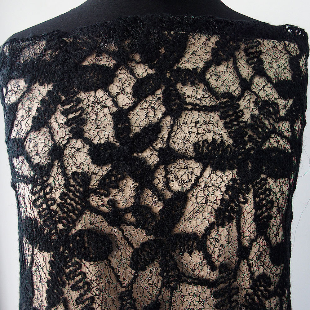 Black Lace Lace fabric with wool