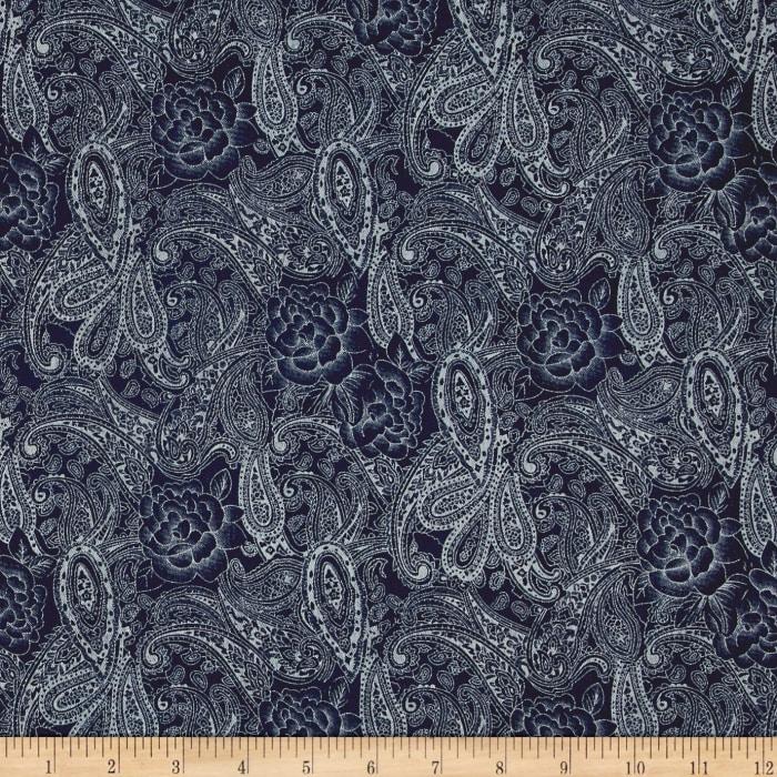cf9187e870f6 Telio Stretch, ed Denim Paisley Floral Dark Blue .
